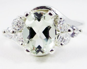 Green Amethyst Oval and CZ Ring Sterling Silver, Prasiolite Amethyst Ring, 925 Green Amethyst Ring, Sterling Silver Ring, 925 Ring