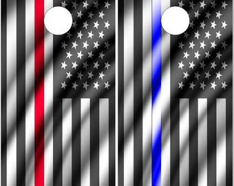 Police Firefighter American Flags LAMINATED Cornhole Wrap Bag Toss Decal Baggo Skin Sticker Wraps
