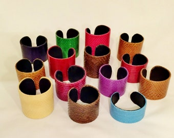 Snakeskin cuff bracelet - selection of colours