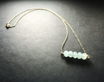 Thin silver chain with Blue stone
