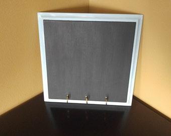 Hanging Chalkboard, Chalkboard Organizer with Hooks, blue chalkboard, chalkboard organizer, framed chalkboard, chalkboard storage