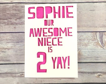 Personalised Niece Birthday Card, Niece Age Card, Childrens Birthday, Kids Number Card 1st 2nd 3rd 4th 5th 6th 7th 8th 9th, Nephew Card