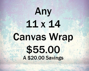 Special Offer, 11x14 Canvas Wrap, Ready To Hang, Your Choice Of Image, Regulary 75.00, Now 55.00, Save 20.00