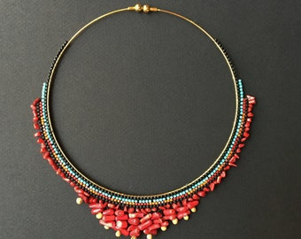 Beaded African colorful choker necklace red turquoise