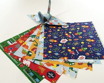 Origami Paper Sheets - Double-sided Boys Design Chiyogami - 60 sheets
