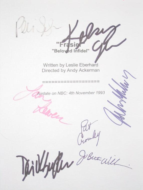 Frasier TV Cast Signed Script Screenplay X7 autograph Kelsey Grammer David Hyde Pierce Jane Leeves John Mahoney Peri GilpinJoBeth Williams