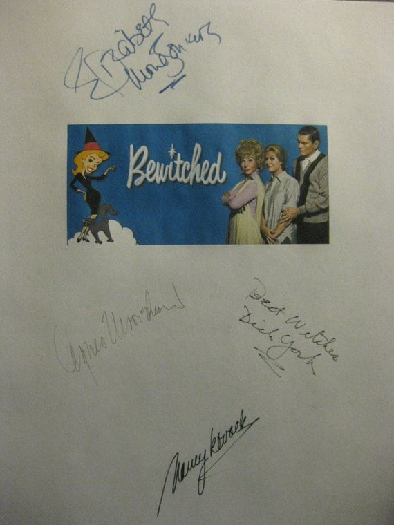 Bewitched Signed TV Script Screenplay Autographs X4 Elizabeth Montgomery Dick York Agnes Moorehead Nancy Kovack signatures classic TV show