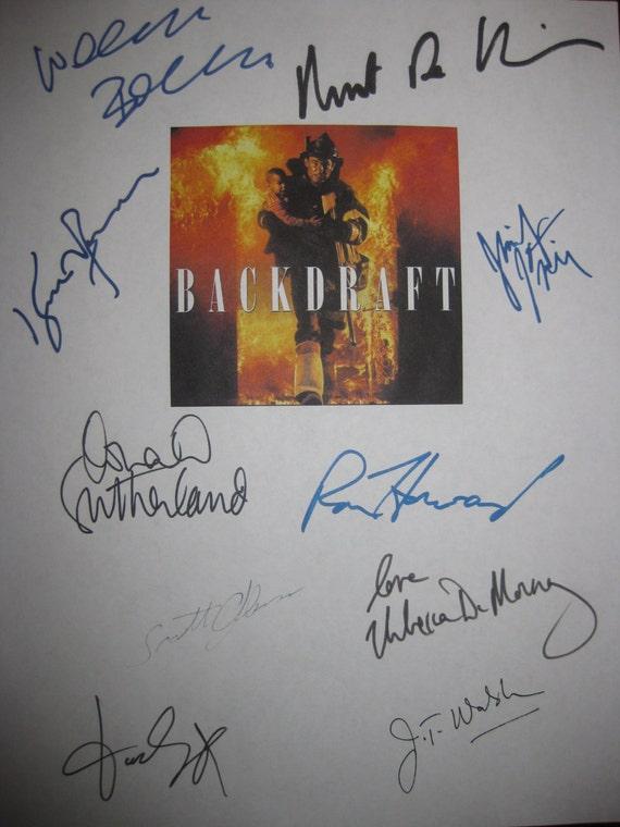 Backdraft Signed Film Movie Screenplay Script X10 Autograph Kurt Russell Robert De Niro Ron Howard Jennifer Jason Leigh Donald Sutherland