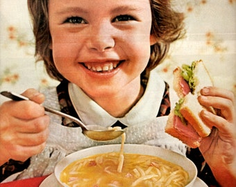 """1960s Campbell Chicken Noodle Soup vintage magazine ad """" soup and sandwich is a 4 minute meal"""""""