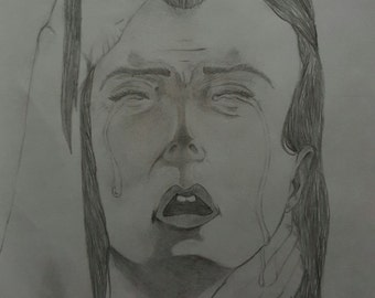 crying lady / lonely day / hand made