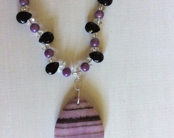 Purple Paradise glass bead necklace