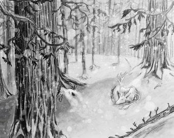 Quiet Snow - Metallic Print