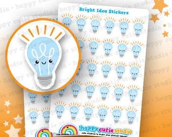 30 Cute Bright Idea/Light Bulb/Idea Planner Stickers, Filofax, Erin Condren, Happy Planner,  Kawaii, Cute Sticker, UK