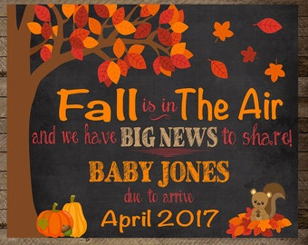 Fall is in the air, baby announcement, pregnancy announcement sign, pregnancy reveal, fall pregnancy announcement, autumn, fall preg