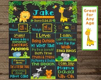 jungle theme birthday, jungle first birthday, jungle chalkboard poster, safari theme birthday, jungle theme party decoration, printable