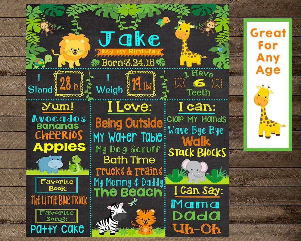 Jungle scrapbook ideas - Jungle Theme Birthday Jungle First Birthday Jungle Chalkboard Poster Safari Theme Birthday Jungle Theme Party Decoration Printable