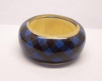 lucite acrylic bamboo textile bangle bracelet