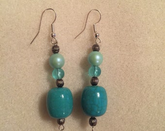 Pearl Blue Pumpkin Earrings