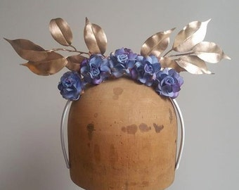 Flower Crown - Blue/Purple Flowers with Metallic Gold Leaves Fascinator