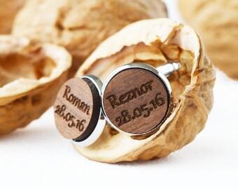 Personalised Cufflinks in Wood   Groom Cufflinks   Groom Gift   Wedding Cufflinks