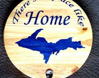 Wood plaque with hooks, metallic blue upper peninsula of Michigan, & Home quote