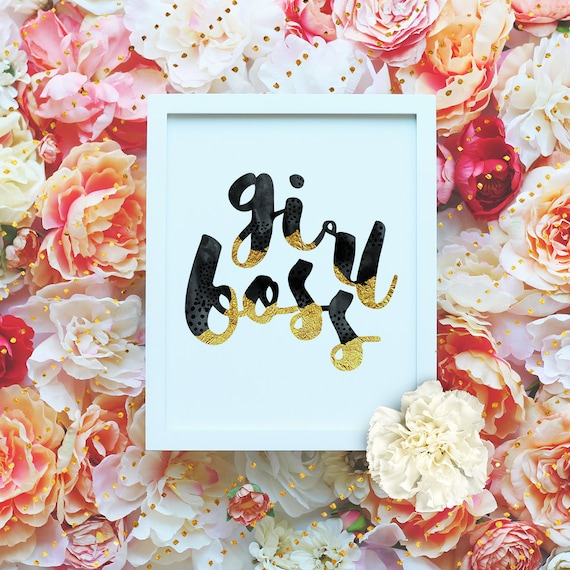"Girl boss Gold Foil- 8x10"" Printable Wall Art - Motivation Print, DIY Art Print -  Typography Print - Home Decor - Instant Download"