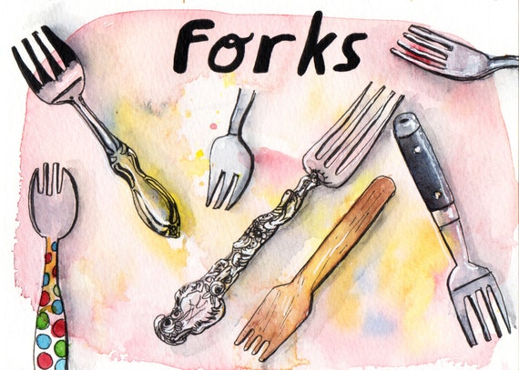 Forks - Pen and Watercolour Painting