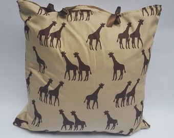 Giraffe Animal Print Brown Beige Handmade Ribbon Tie Cushion Cover