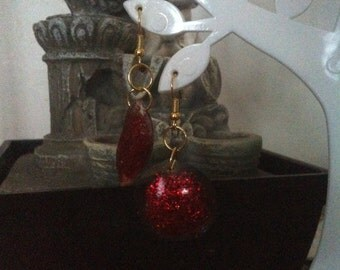 Resin with red glitter earrings