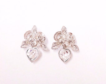 Bridal rose design heart  Swarovski crystal earrings