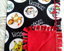 Pokemon Fleece Tie Blanket, Pokemon Blanket, Pokemon Knot Blanket, Pikachu Blanket, Pokemon, Pokemon No Sew Blanket