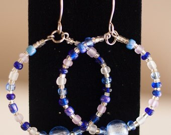 Blue Glass bead Hoop Earrings