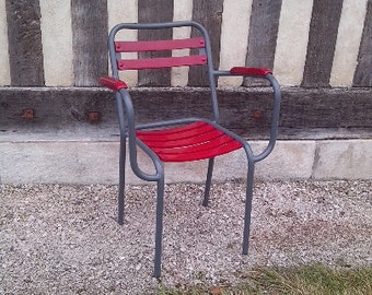 DISCOUNT 3 chairs with armrests wood metal chairs redone to nine
