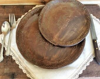 Rustic Dinnerware Plate Set ~ Hand Stenciled Mandala ~ Handmade Vermont Pottery ~ Made in USA & Rustic dinnerware set | Etsy