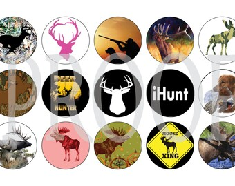 Digital Bottle Cap Image Sheet -  Hunting - 1 Inch Digital Collage - Instant Download