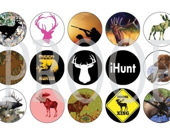 Digital Bottle Cap Image Sheet -  Hunting - 1 Inch Digital Collage - Instant Download