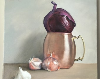 Onion Moscow Mule Garlic Art Kitchen Art Kitchen Decor Original Still Life Original Painting Oil on Canvas Vegetable Art Small Painting