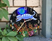 Glass clock with a cat Stained glass wall clock Cat Clock Painted glass Stained glass Whimsical clock Wall clock Colorful wall clock