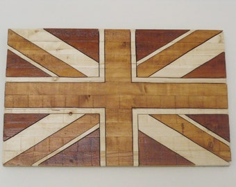 Rustic Wooden Union Jack Flag - Natural Artistic Impression
