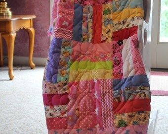 Pink Patchwork Baby Quilt