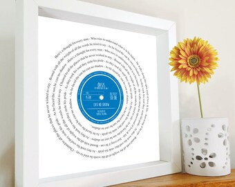 Oasis - Cast no Shadow - Framed Song Lyrics | Vinyl Record inspired gift | Music Lover | MOD | Britpop | Valentine's Day | Father's Day