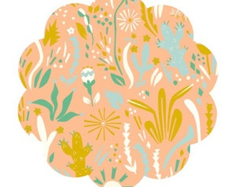 Happy floral fabric print. DIY Sewing fabric supply. Modern floral fabric. Western apparel and quilt cotton fabric. Baby sewing fabric.