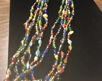 Vintage Multi Strand Beaded Necklace, Multi Colors