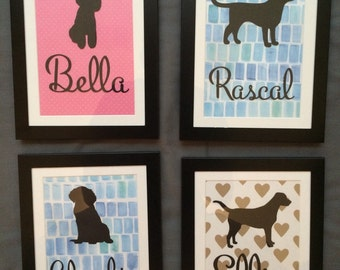 Personalized Dog Silhouette (Framed)