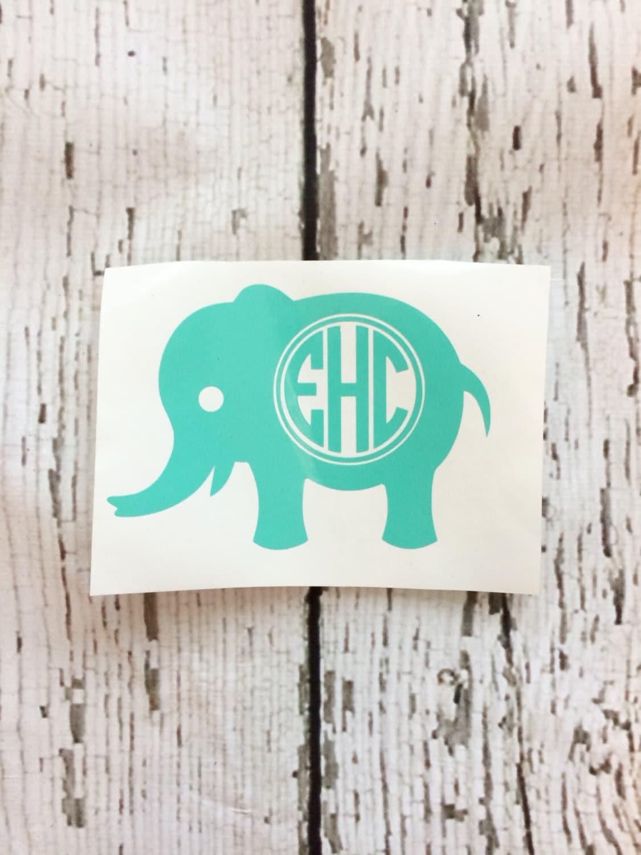 Elephant Monogram Decal Monogram Elephant Decal Elephant - Elephant monogram car decal