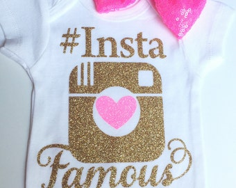 Pink and Gold Insta Famous Baby Onesie