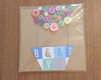 Button balloon floating baby card