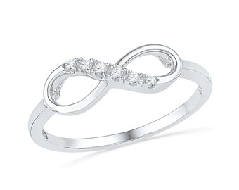 Womens Promise Ring, 10k White Gold Infinity Band or Sterling Silver Diamond Ring
