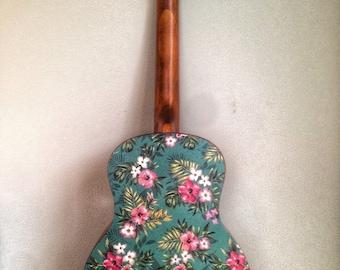 Ukulele decal sticker of vintage Hawaiin hibiscus flower and palm design. Vinyl sticker ukulele decor. Colourful design for a stylish uke