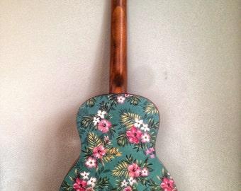 Ukulele sticker, vinyl decal sticker of vintage Hawaiin hibiscus flower and palm design. Vinyl sticker ukulele decor. Colourful design for a
